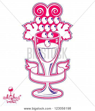 Winery Theme Vector Illustration. Elegant Empty Wineglass With Grape Vine And Simple Ribbon, Racemat