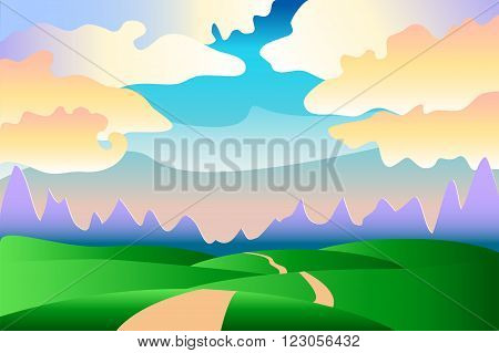 Cartoon idyllic summer landscape with hills, clouds and road - vector background