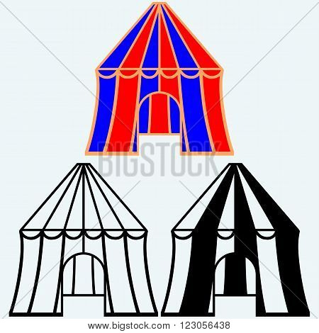 Circus tent icon. Isolated on blue background. Vector silhouettes