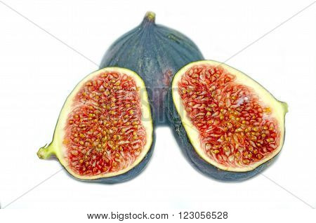 Ripe fig fruits isolated on white background