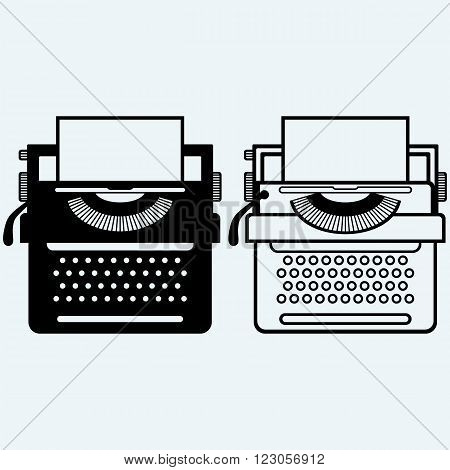 Typewriter. Isolated on blue background. Vector silhouettes