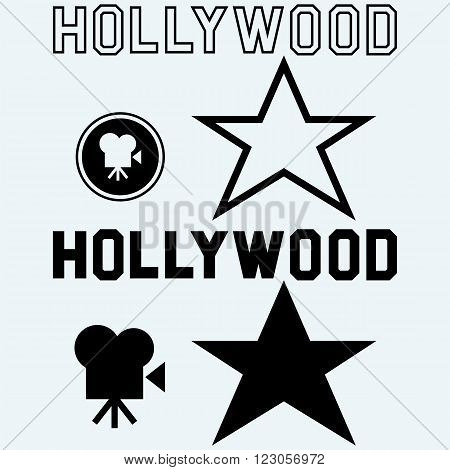 Hollywood symbol. Isolated on blue background. Vector