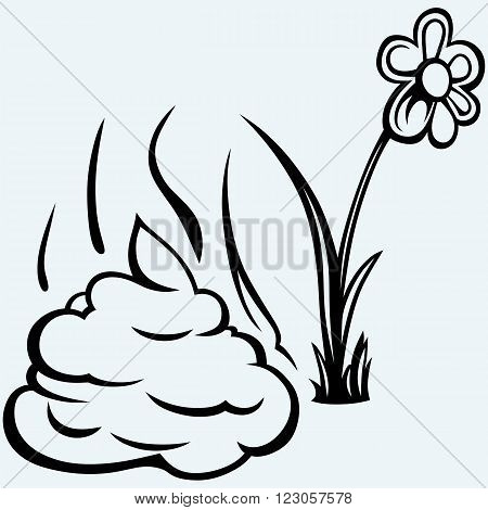 Feces cartoon. Isolated on blue background. Vector
