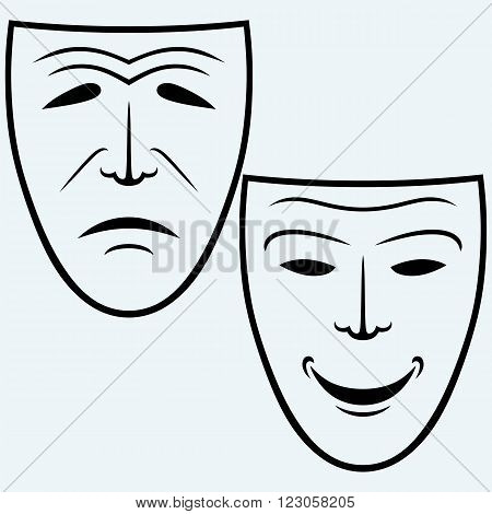 Comedy and Tragedy theatrical mask. Isolated on blue background. Vector