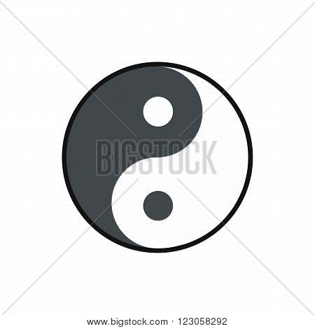 Ying yang icon in flat style isolated on white background