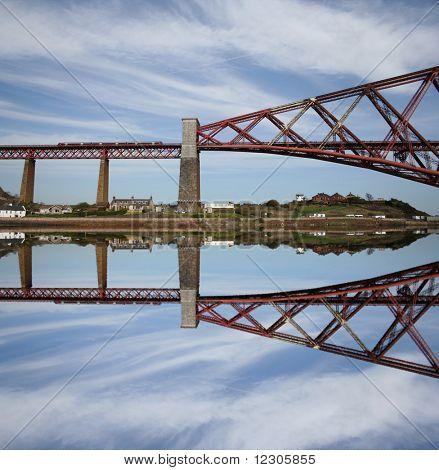 Forth Rail Bridge reflected Scotland