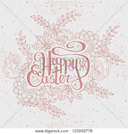 Happy Easter card. Easter holiday background. Hand drawn lettring. Isoleted on white background. Vector illustration
