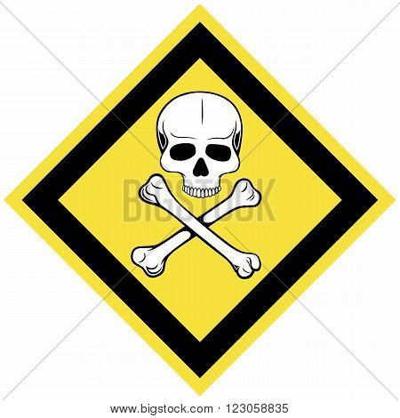 Skull and crossbones symbol. Warning sign. Isolated on blue background. Vector silhouettes