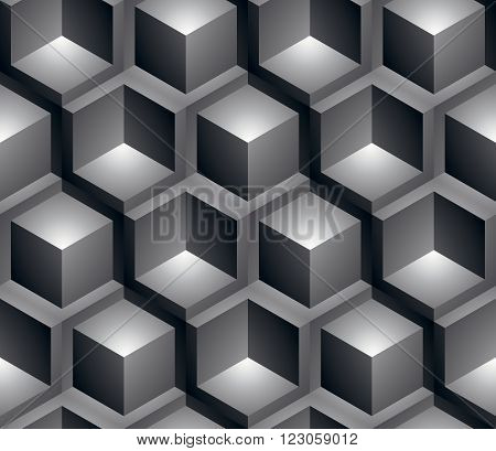 Monochrome Illusive Abstract Geometric Seamless Pattern With 3D Cubes. Vector Stylized Texture, Best