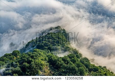 Cloudy weather view of the mountain national park in southwestern Montenegro.