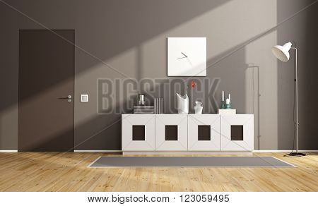 Brown modern livingroom with sideboard and closed door - 3D Rendering