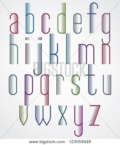 Poster Light Colorful Font On White Background, Striped Tall Letters With Outline.