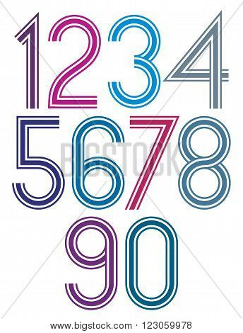 Rounded Big Colorful Numbers With Triple Stripes On White Background.