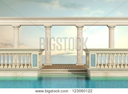 luxury swimming pool with classic balustrade and colonnade overlooking the sea - 3d Rendering