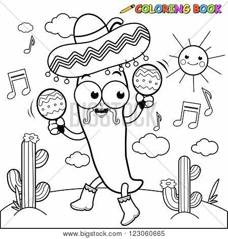 Vector black and white Illustration of a mariachi chili pepper playing music with maracas and dancing in the Mexican desert.