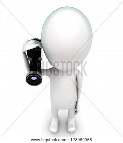 3D Man Holding A Video Camera In Hand Concept