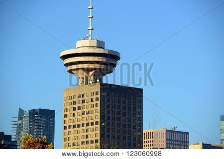 Vancouver city skyline and Harbour Centre Tower, Vancouver, British Columbia, Canada.