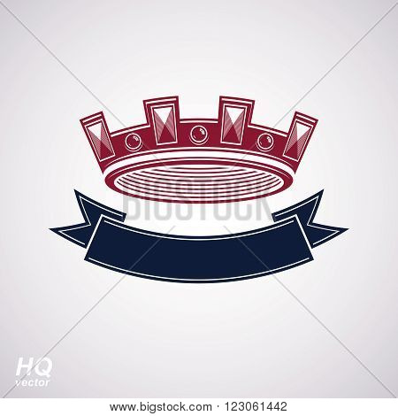 Vector imperial crown with undulate ribbon. Classic coronet with decorative curvy band. King regalia design element isolated on white background.