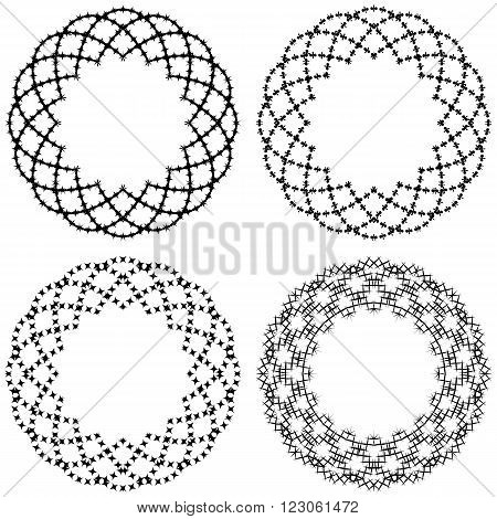set of various round symmetric samples. vector illustration