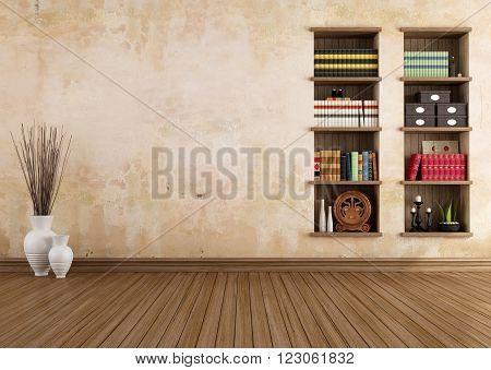 Empty vintage room with bookshelves - 3D rendering