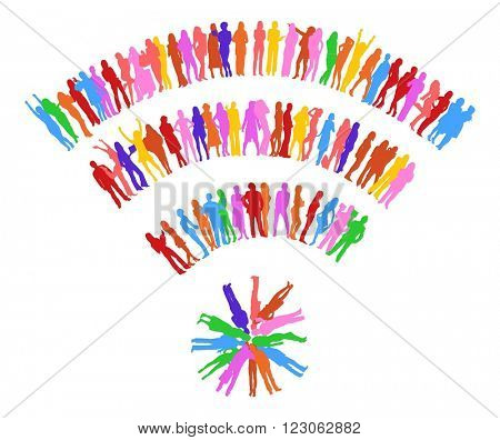 Illustration Many People - colorful silhouettes of people