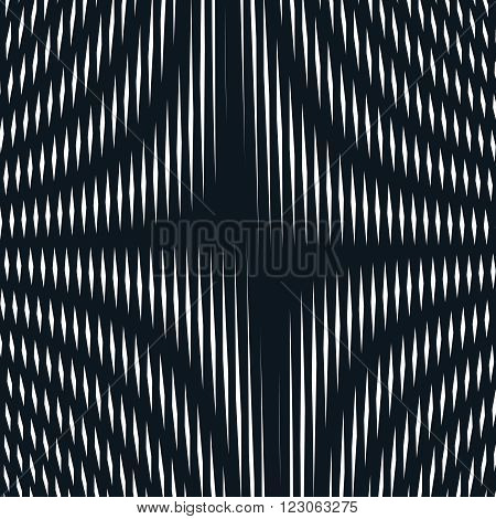 Abstract Lined Background, Optical Illusion Style. Chaotic Lines Creating Geometric Pattern With Vis