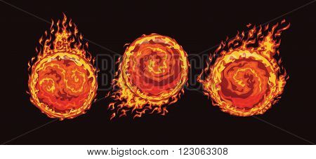Set of hot fire balls on the speed in flame isolated on a black background. Vector illustration.