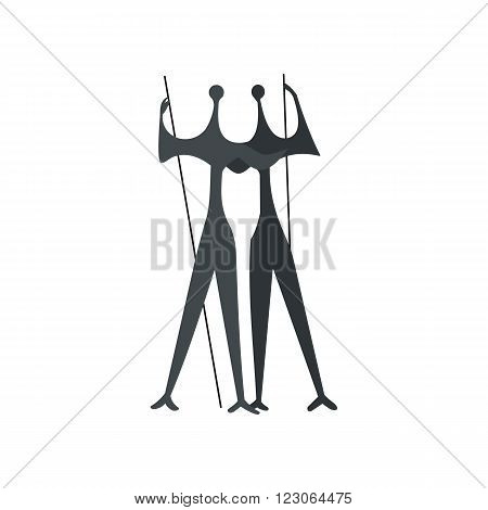 Sculpture of Two Warriors by artist Bruno Giorgi, Brasili icon in flat style isolated on white background