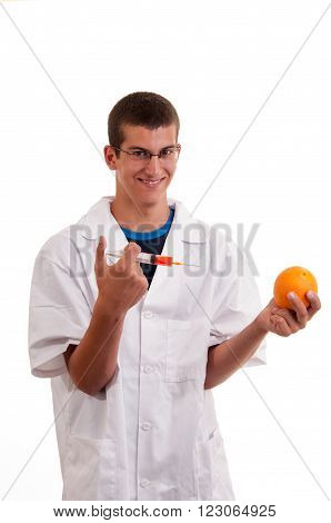 Young Scientist Happy To Do Experiments With Fruits. Concept For Genetically Modified Foods(gmo)