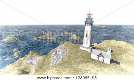 3d rendering Seascape at sunset. Lighthouse on the coast 10