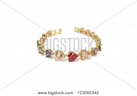 Bracelets with multicolored rhinestone on white background