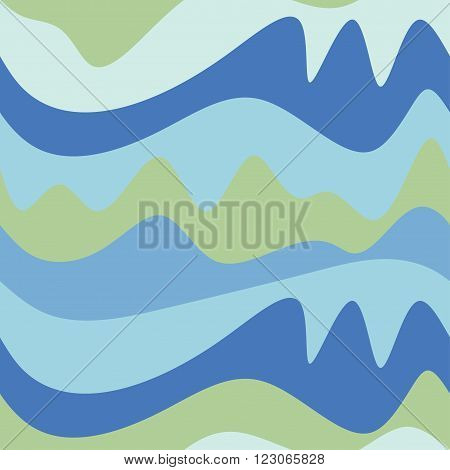 Seamless wave pattern with color curves for backround, game design, textiles