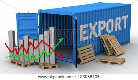The change of volume of export. Concept. The open cargo container with inscription