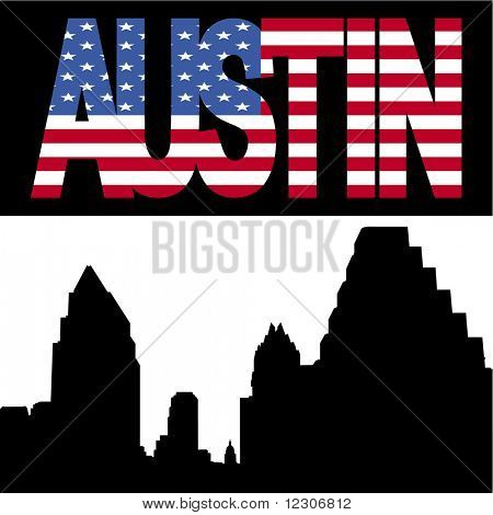 Austin Skyline with Austin flag text illustration JPG