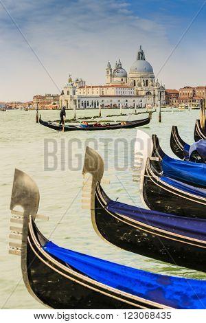 Gondolas in Venice with San Giorgio Maggiore church. San Marco, Venice, Italy