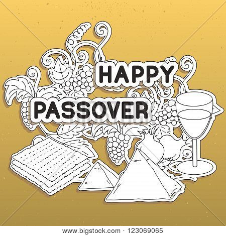 Happy Passover. Greeting card. Hand drawn elements on gold background. Vector illustration.
