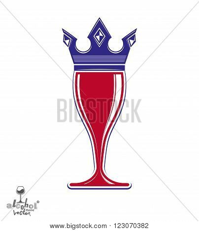 Decorative Luxury Wineglass With Monarch Crown, Art Goblet For Use In Graphic Design. Full Glass Of