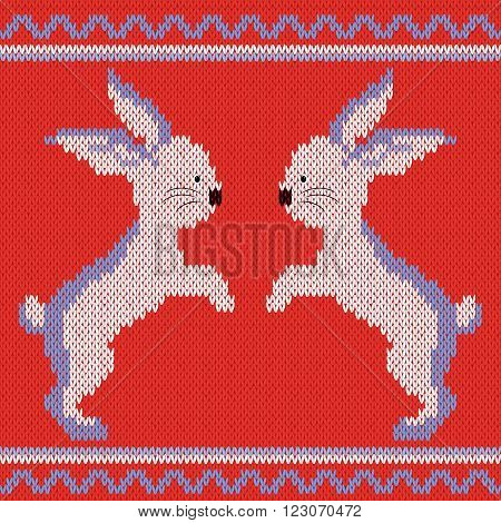 Knitted Ornamental vector pattern with white and blue two rabbits on the bright red background
