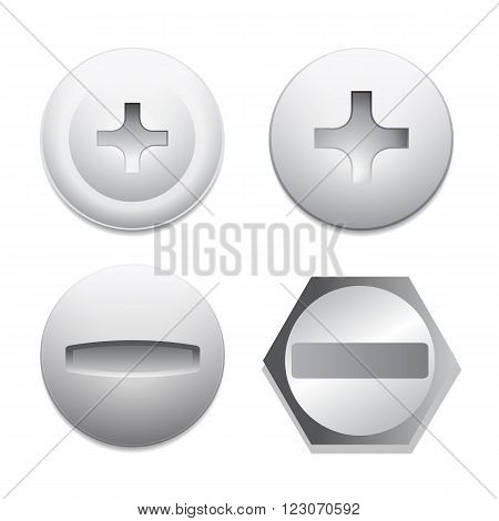 Screw bolt icons isolated on white background