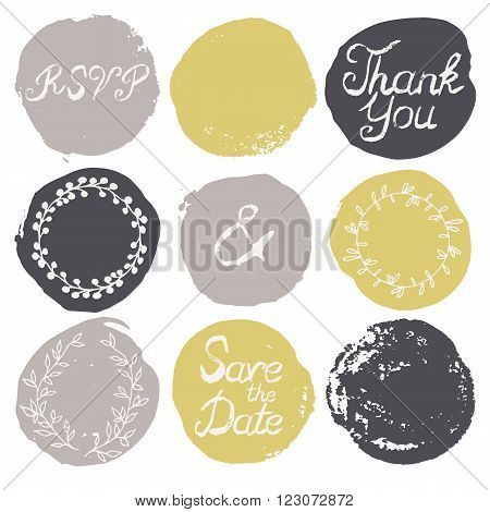 Set of 9 decorative wedding and romantic elements. Watercolour hand drawn circles with grungy lettering and floral decorations. Trendy black, grey and yellow shapes with rough edges isolated on white
