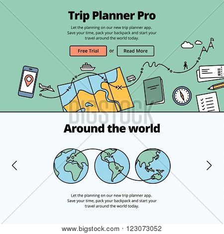 Travel preparation illustration and website banner. Planning a trip around the world with a trip planner application.