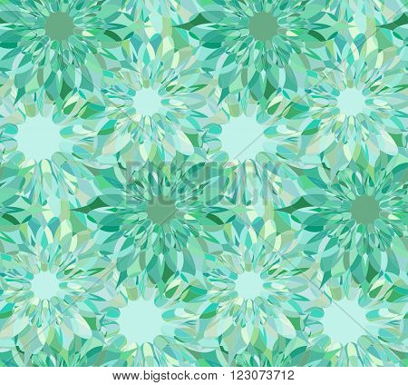 Seamless floral pattern with turquoise guilloche flowers. Beryl crystal seamless guilloche pattern. Celadon seamless background. Guilloche design line art pattern. Vector illustration