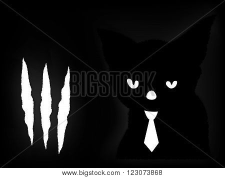 Scraps of white paper next to the black cat in a white tie