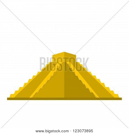Mayan pyramid in Yucatan, Mexico icon in flat style isolated on white background