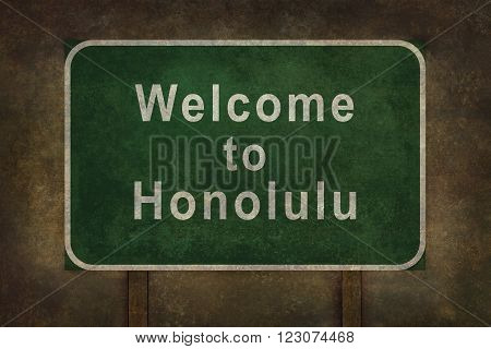 Welcome to Honolulu road sign illustration with distressed ominous background