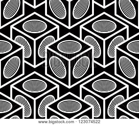 Monochrome Abstract Interweave Geometric Seamless Pattern. Vector Black And White Illusory Backdrop
