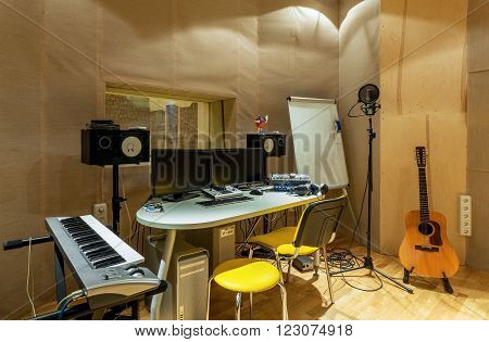 UKRAINE, KIEV - OCT 6: Sound recording studio of the Academy of modern education interior on October 6, 2013 in Kiev, Ukraine.