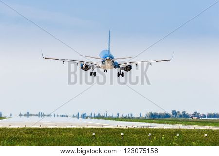 Ukraine, Borispol - MAY 22 : The plane is landing at the international airport Borispol on May 22, 2015 in Borispol, Ukraine