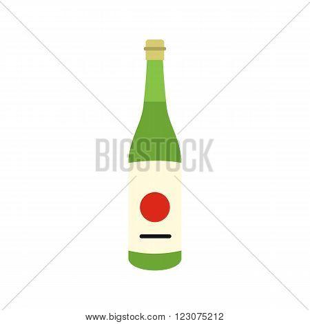 Sake bottle icon in flat style isolated on white background