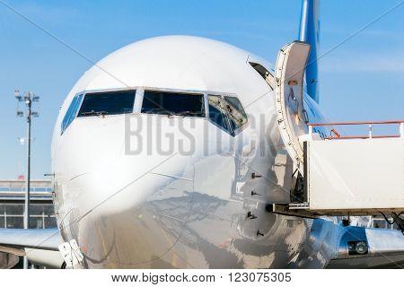 Ukraine, Borispol - MAY 22 : The fuselage of the Boeing 737 at Borispol International Airport on May 22, 2015 in Borispol, Ukraine